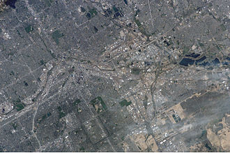 Downtown Denver - Astronaut's photograph of Denver, Colorado, taken from the International Space Station. North is to the upper right of the image.
