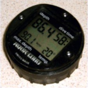 "Depth gauge - A digital depth gauge combined with a timer and temperature display, also referred to as a ""Bottom timer"""
