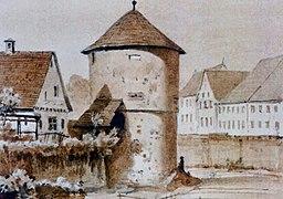 Der Eisturm in Reutlingen auf einem Aquarell von Eduard von Kallee (retuschiert)