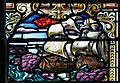Derry Guildhall Tercentenary Window of The Honourable The Irish Society Right Side Window Detail The Mountjoy breaking the boom 28th July 1689 2019 08 29.jpg