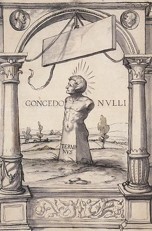 Terminus (god) - Image: Design for a Stained Glass Window with Terminus, by Hans Holbein the Younger