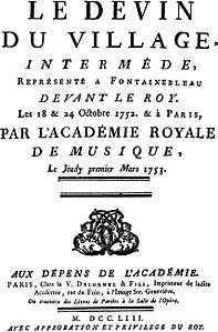 Libreto para a apresentação em 1º de março de 1753 em Paris