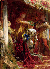 Victory A Knight Being Crowned With Laurel Wreath By Frank Dicksee