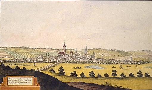 Die Koenigl. Kreis- und Leibgedingstadt Neu Bidczow aufgenommen und gemahlt von Joan. Venuto 1812