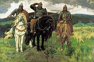 Il'ja Muromec, Dobrynja Nikiti? and Alëša Popovi? sono rappresentati insieme nel famoso dipinto di Viktor Vasnetsov Bogatyri