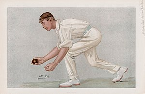 "Underarm bowling - ""The Lobster"" Jephson as caricatured by Spy in Vanity Fair, May 1902"