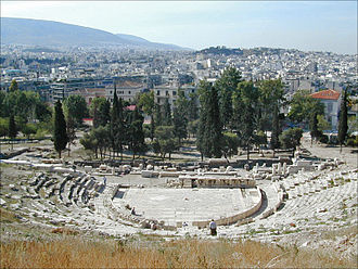 Phallic architecture - The Dionysus Theatre of Athens. Phallic columns can still be seen of the ruined Ancient Greek theatre.
