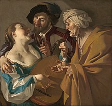 Dirck van Baburen, The Procuress , 1622, oil on canvas, Museum of Fine Arts, Boston. The painting was owned by Maria Thins, mother-in-law of Johannes Vermeer, who reproduced it within two of his own paintings. Dirck van Baburen - The Procuress - Google Art Project.jpg