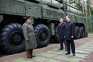 RT-2PM2 Topol-M - Dmitry Medvedev during his visit to a regiment of the Strategic Rocket Forces equipped with Topol-M