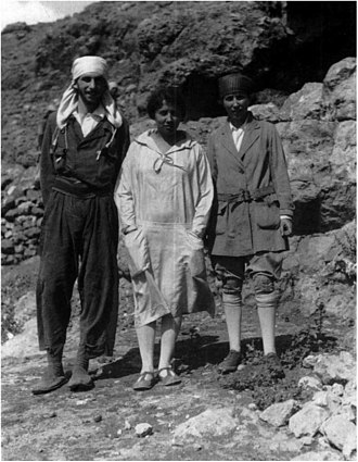Dorothy Garrod - Garrod in 1928 standing with George and Edna Woodbury of the American School of Prehistoric Research
