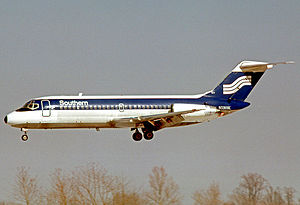 Southern Airways - Southern Airways Douglas DC-9-14 wearing the final color scheme when landing at St Louis in February 1978