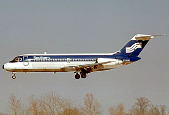 Southern Airways - Douglas DC-9-14 in final color scheme at St Louis in February 1978