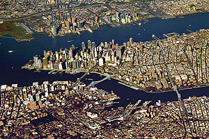 Port - The Port of New York and New Jersey grew from the original harbor at the convergence of the Hudson River and the East River at the Upper New York Bay.