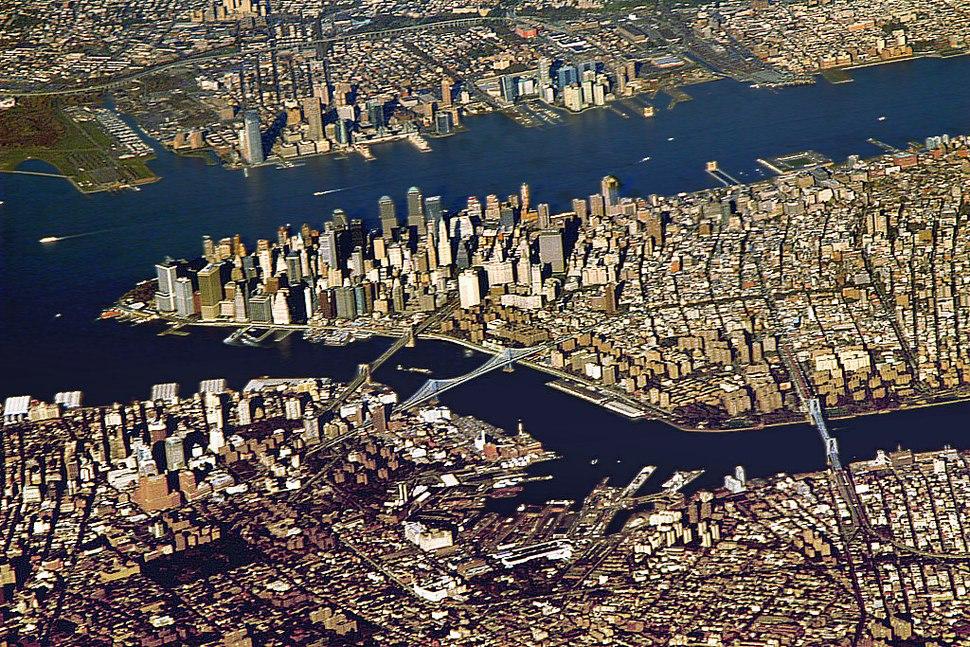 Downtown Manhattan From Aeroplane