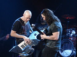 Rudess and Petrucci dueling in Buenos Aires, Argentina (2008).