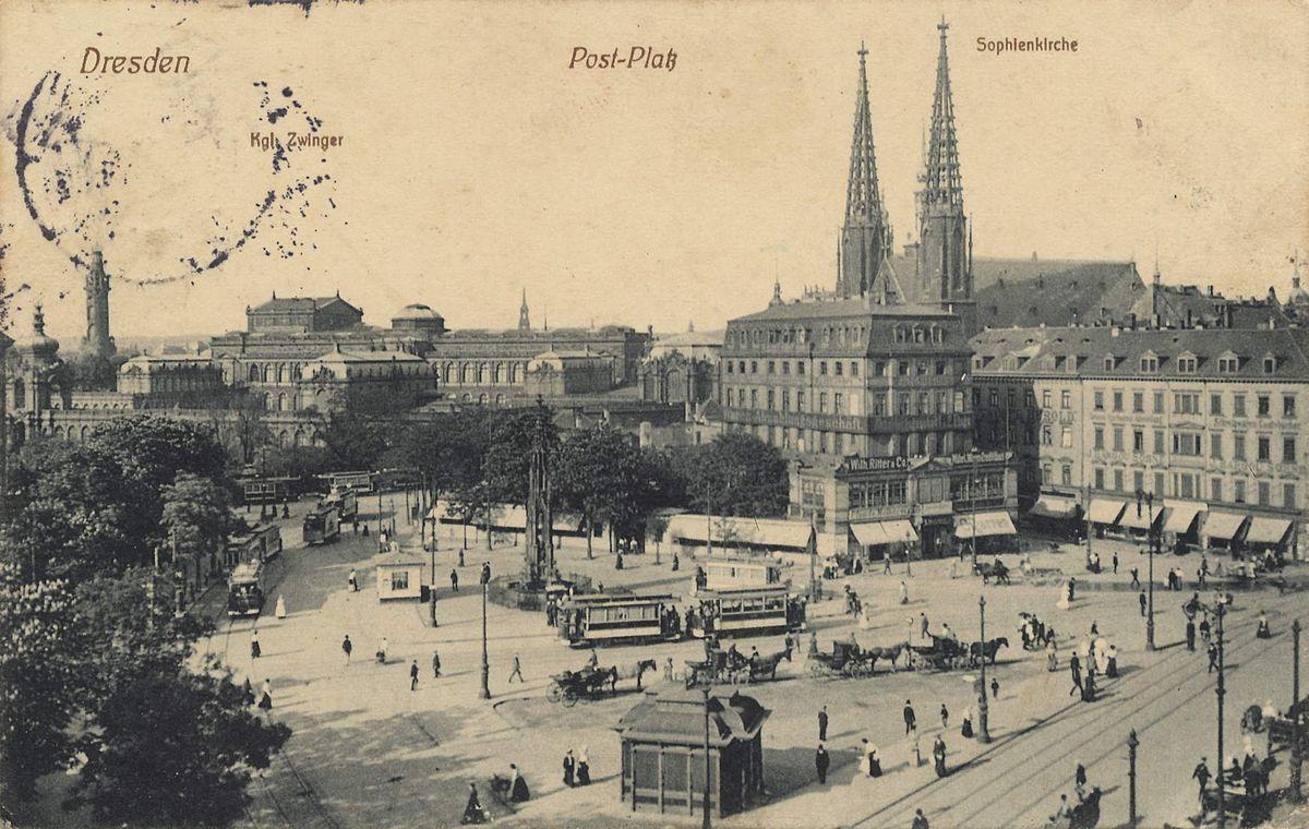 File Dresden Postplatz Zwinger Semperoper Sophienkirche 1913 Jpg 维基百科 自由的百科全书