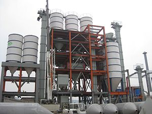 Dry mortar production line - Dry mortar production line at work site.