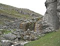Dry waterfall at Eglwyseg Crags - geograph.org.uk - 186307.jpg