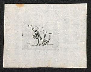 Dwerg met mitella, kruk en zwaard