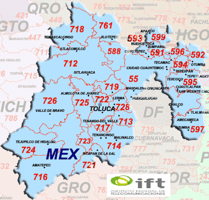 EDOMEX Area Codes Map
