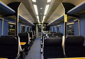 East Midlands Trains - The refurbished First Class interior aboard a Mark 3 Trailer First HST carriage