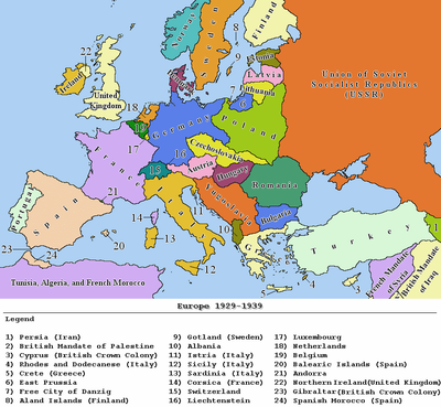 Europe between 1929 and 1938.
