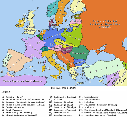 carte europe annees 30 vierge