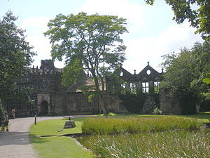 East Riddlesden Hall - A view of the rear entrance (including rose window) of the property