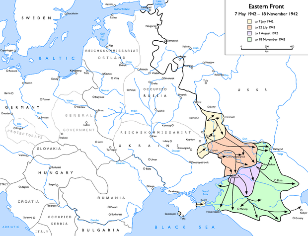Case Blue: German advances from 7 May 1942 to 18 November 1942 to 7 July 1942 to 22 July 1942 to 1 August 1942 to 18 November 1942 Eastern Front 1942-05 to 1942-11.png