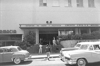 Radiocentro CMQ Building - Edificio Radiocentro CMQ. Television studios entrance on Calle M.