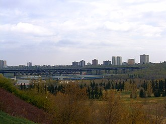 Edmonton Transit Service - High Level Rail Bridge with lower LRT bridge and train crossing