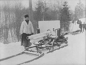 Ehrhardt 7.5 cm Model 1901 - A Model 1901 dismantled for sled transport during winter manoeuvres in 1904.