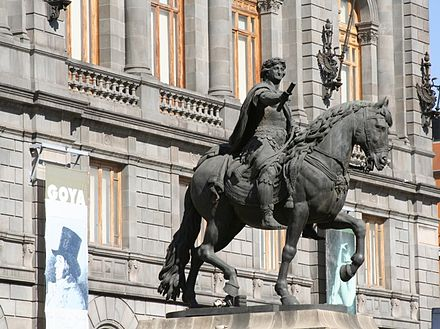Equestrian statue of Charles IV, Mexico City, Manuel Tolsa. The Spanish Monarch was the maximum authority in New Spain and ruled via a viceroy. El caballito de Tolsa a.jpg
