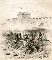 Ludwig II fights against the Arabs in front of Bari