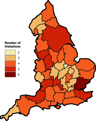 Heraldic visitation - Map showing the number of visitations by the King of Arms to England's counties, taken from Burke's Landed Gentry, 1937 edition.