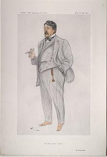 caricatura do elegante, gordo e próspero Bennett, fumando um charuto