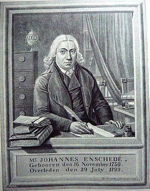 Johannes Enschedé Jr. - Engraving of portrait of Johannes Enschedé Jr by Warnaar Horstink
