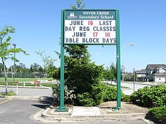 Enver Creek Secondary School - Enver Creek noticeboard.