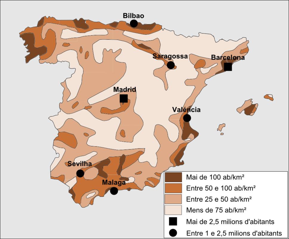 Espanha - Densitat de populacion e vilas principalas