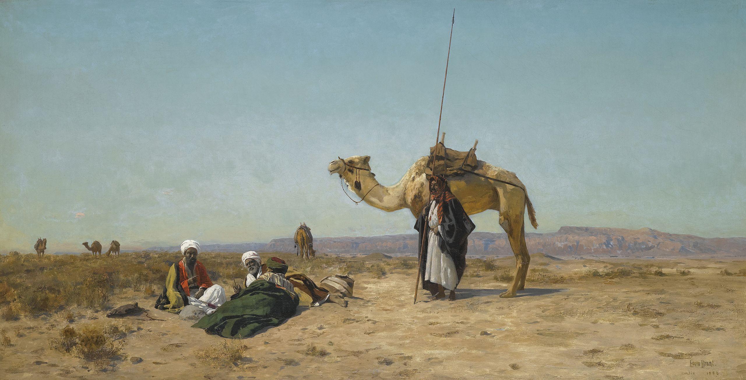Rast in der Syrischen Wüste, Eugen Bracht, 1883