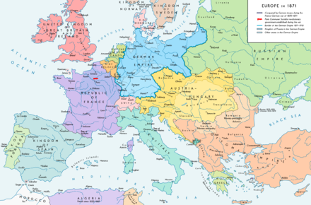 Europe after the Franco-Prussian War and the unification of Germany Europe 1871 map en.png