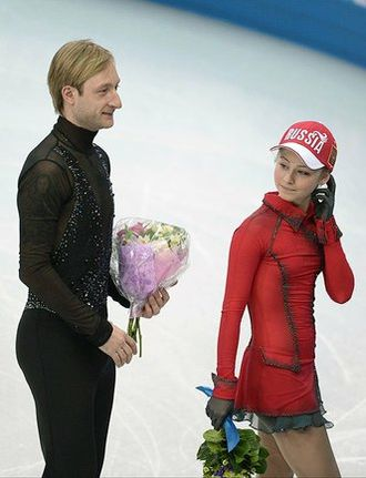 Russia at the 2014 Winter Olympics - Evgeni Plushenko and Yulia Lipnitskaya after winning the team event