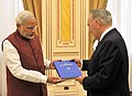 Exchanging of Gift between the Prime Minister, Shri Narendra Modi and the President of the Republic of Kazakhstan, Mr. Nursultan Nazarbayev, at Akorda President's Palace, in Astana, Kazakhstan on July 08, 2015.jpg