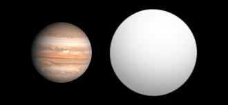 Kepler-5b - Size comparison of Kepler-5b with Jupiter.