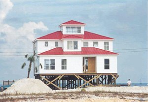 Dauphin Island, Alabama - Typical elevated house on Dauphin Island