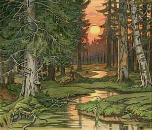 "Leshy - Home of the leshy. ""Fairy Forest at Sunset"" by Ivan Bilibin, 1906."
