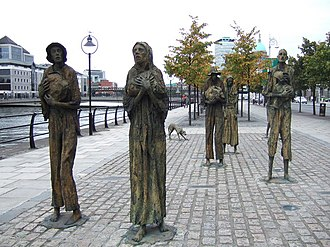 Hunger in the United Kingdom -  A hunger memorial near Customs House in Dublin, depicting people starving due to the Great Famine, who are trying to leave Ireland via ships from the nearby quay.