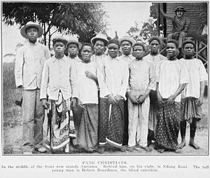 Beti-Pahuin peoples - Fangs in a Christian mission, c. 1912.