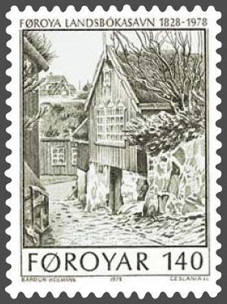 National Library of the Faroe Islands - Original library building, from a 1937 painting by Flora Heilmann