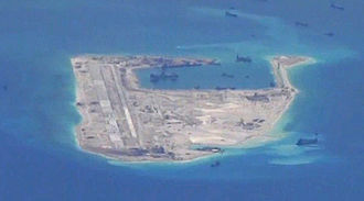 Territorial disputes in the South China Sea - Fiery Cross Reef being transformed by the PRC in May 2015